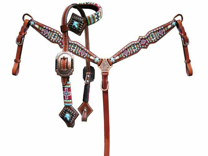 Showman PONY Size Beaded NAVAJO CROSS Leather Bridle Breast Collar Reins SET