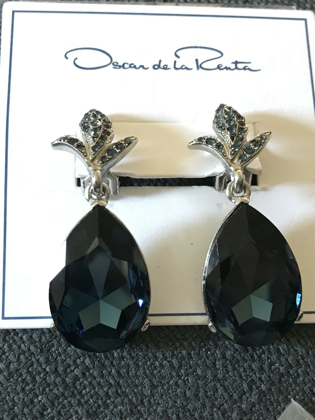 Oscar De La Renta Teardrop Earrings bluee Crystal Clip On