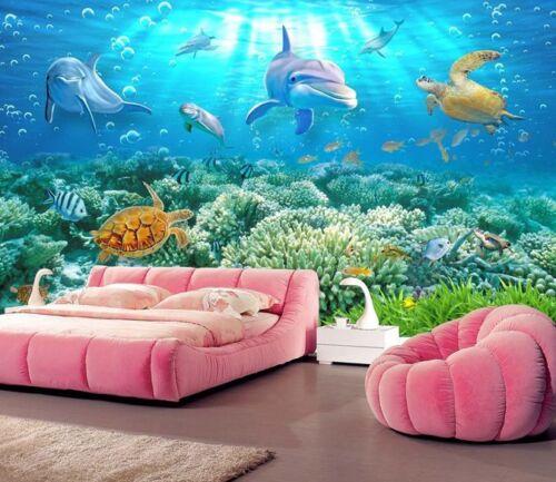 3D Waterweed Shark Sea turtle Wall Paper Wall Print Decal Wall Deco AJ WALLPAPER
