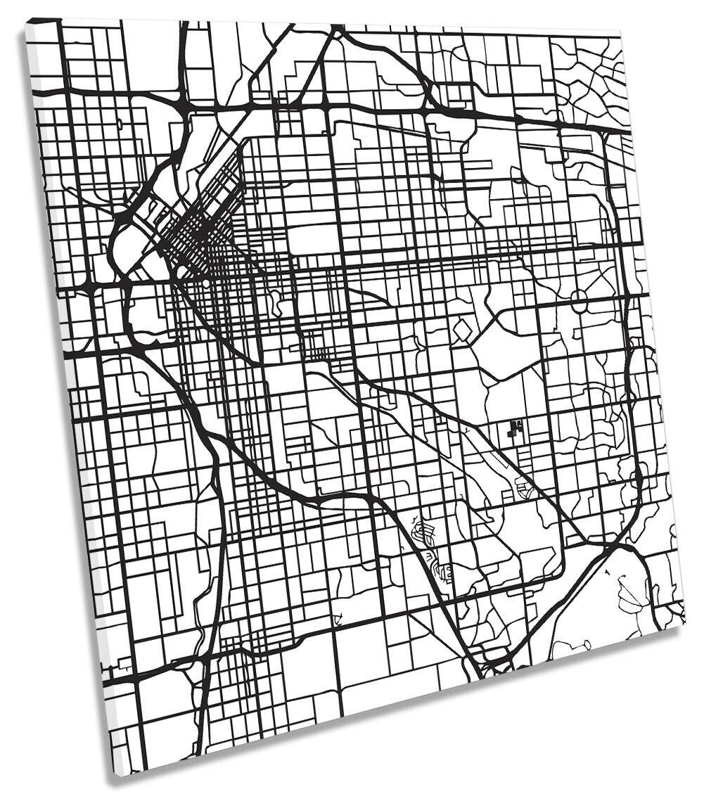 Denver City Street Map ART. a Muro Immagine Stampa quadrato