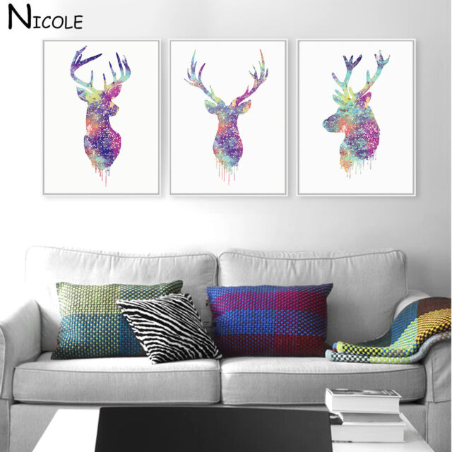 Abstract Deer Animal Minimalist Canvas Poster Watercolor Art Prints Nordic Style