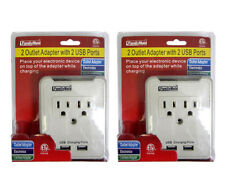 2PC 2 AC Outlet Wall Mount Tap Adapter & Dual 2 USB Charging Port & Phone Holder