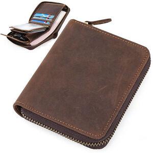 Men-039-s-Genuine-Leather-Wallet-Bifold-Zipper-Purse-Money-Clip-Photo-Credit-Card