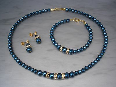 xDark Blue Pearl Gold Plated Crystal Diamante Necklace Bracelet & Earrings