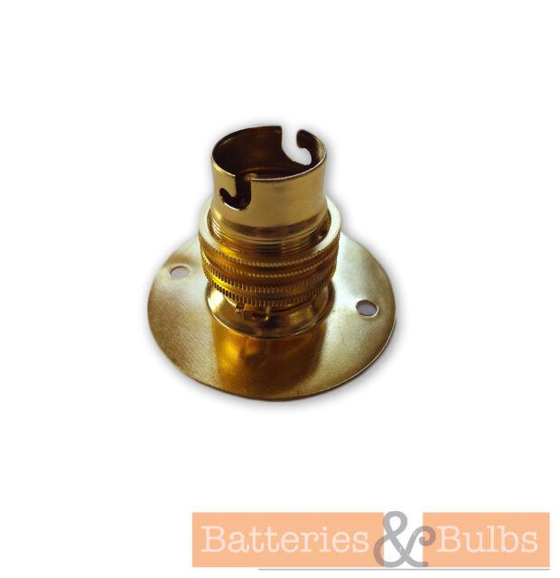 BRASS BC B22 BAYONET CAP 2 HOLE BATTEN LIGHT BULB LAMPHOLDER & SHADE RING FIXING