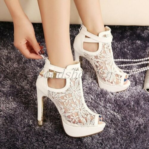 Lace Peep Toe High Heels Buckle Bridal Shoes Woman Platforms Party Prom Pumps Fz