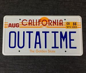 Back-to-the-Future-OUTATIME-De-Lorean-prop-License-Plate-Embossed-on-Aluminium
