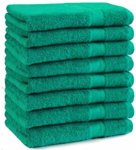 Betz-lot-de-8-serviettes-Premium-100-coton-50x100-cm-couleur-vert-emeraude