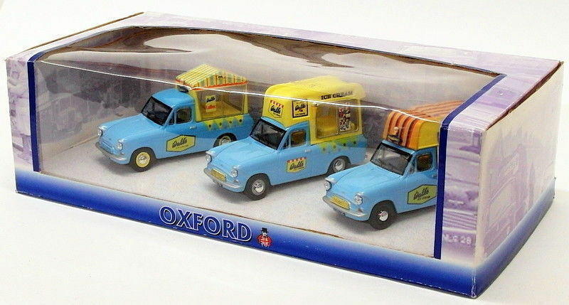 Oxford Diecast 1 43 Scale OXSET26 - Ford Anglia Set Of 3 Ice Cream Vans - Walls