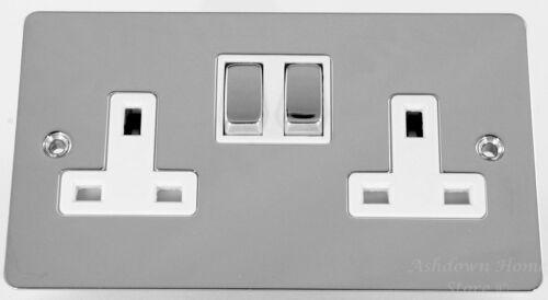 G/&H fc210 plat plaque chrome poli 2 Gang 13A commuté double socket plug