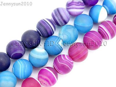 Natural Matte Stripe Agate Gemstone Round Beads 15.5'' Strand 6mm 8mm 10mm 12mm