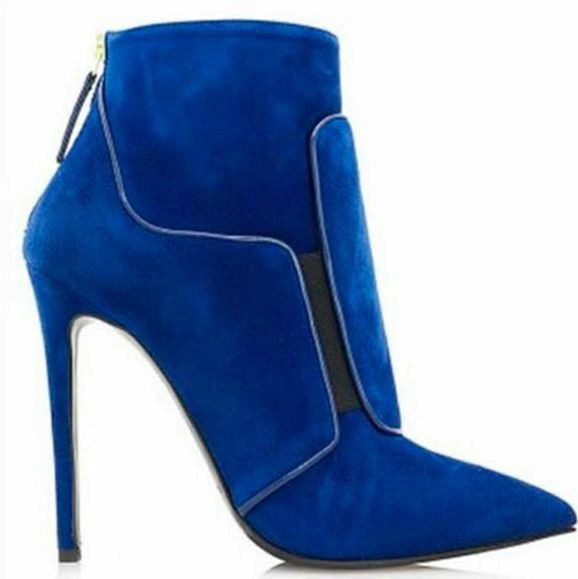 donna Pointy Toe Stilettos High Heels Zipper Suede Ankle stivali Suede Party Y898