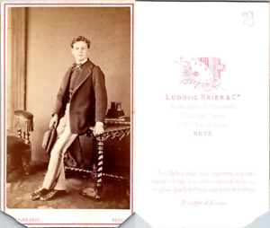CDV-Ludovic-Krier-Metz-jeune-homme-en-pose-circa-1870-Vintage-CDV-albumen-car