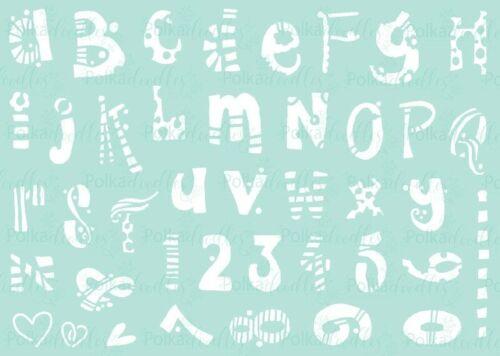 """Polkadoodles Funky Alfabeto Plantilla o polkadoodles Flor Doodles A5 6 X 6/"""""""