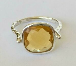Sterling-Silver-Citrine-Ring-Gemstone-Large-Square-Round-Size-5-6-7-8-9-10-11