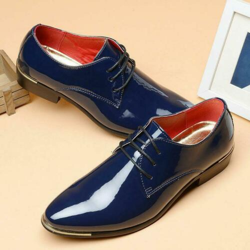 Mens  Patent Leather Formal Wedding Lace Up party  Dress pointy toe Shoes