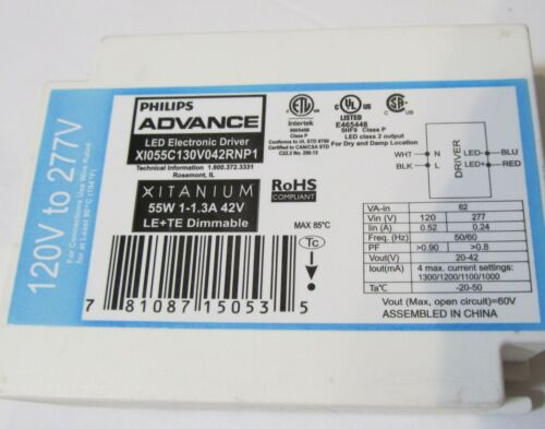 PHILIPS XITANIUM LED ELECTRONIC DRIVER// BALLAST XI055C130V042RNP1 DIMMABLE 55W