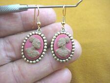 CAE1-42) RARE African American LADY brown + pink CAMEO dangle Earrings JEWELRY