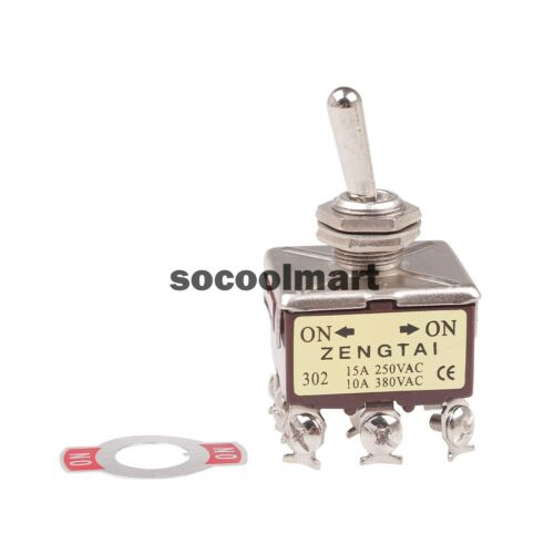 1Pc Panel Mount Toggle Switch 3P2T 3PDT 2 Position ON//ON 9 Pin 380V 10A 250V 15A