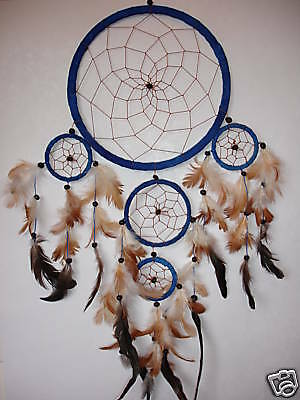 NEW LARGE 5 RING DREAM CATCHER IN BLUE SUEDE LEATHER 70CM DROP / dcle22triblu