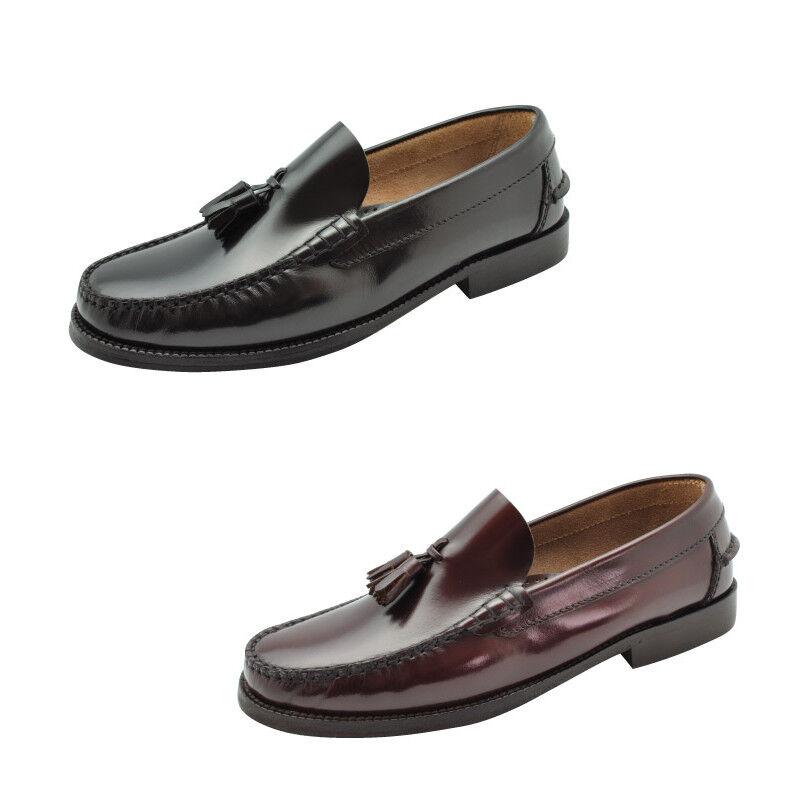 Schuh Spanisch Quasten Schwarz Bordeaux Leder Größe 39 40 41 42 43 44 45 46 47