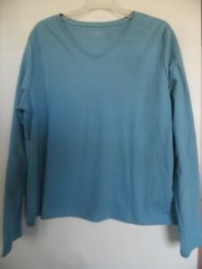 LL-Bean-Ladies-Size-XL-Blue-Cotton-Knit-Long-Sleeve-Top-V-neck