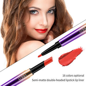 Doble-Cabezal-de-larga-duracion-Impermeable-Lapiz-Labial-Pluma-Mate-Delineador-De-Labios-Maquillaje