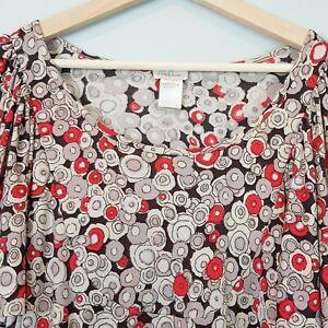COLLETTE-DINNIGAN-Womens-Silk-Print-Top-Size-L-or-AU-14-US-10
