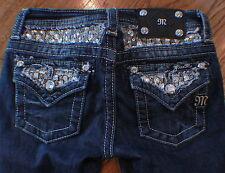 Miss Me Kids Girls Skinny Whiskered Blue Denim Jeans Sz 10 Sequins Button Pocket