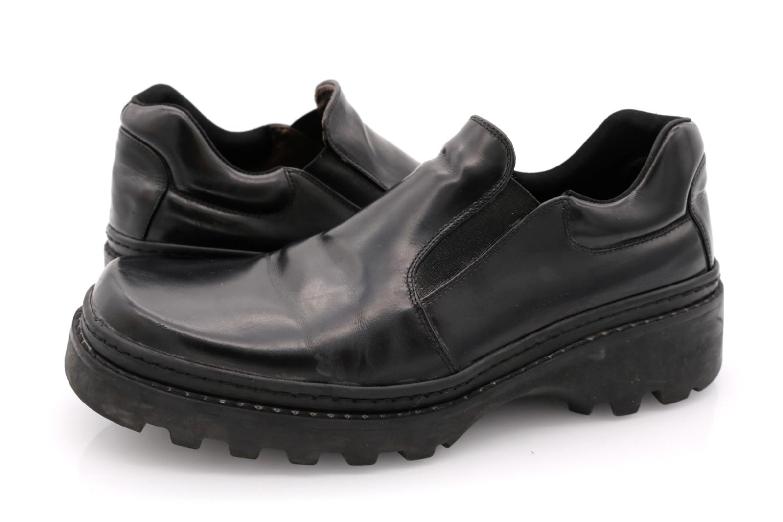 Kenneth Cole New York Mens 7.5 Black Leather Slip On Dress Shoes EUR 41.5