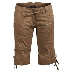 Brown-Cotton-Knee-Cargo-Combat-Military-Summer-Holiday-Trousers-Shorts-6-8-10-12