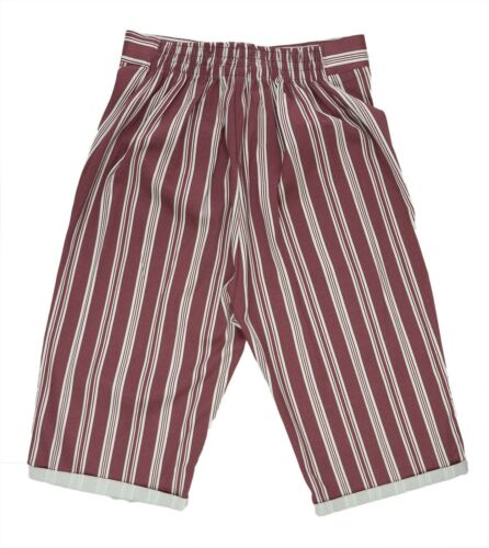 Bnwt New Size 12-20 New Red White Stripe Knee Length Pull On Shorts Ladies