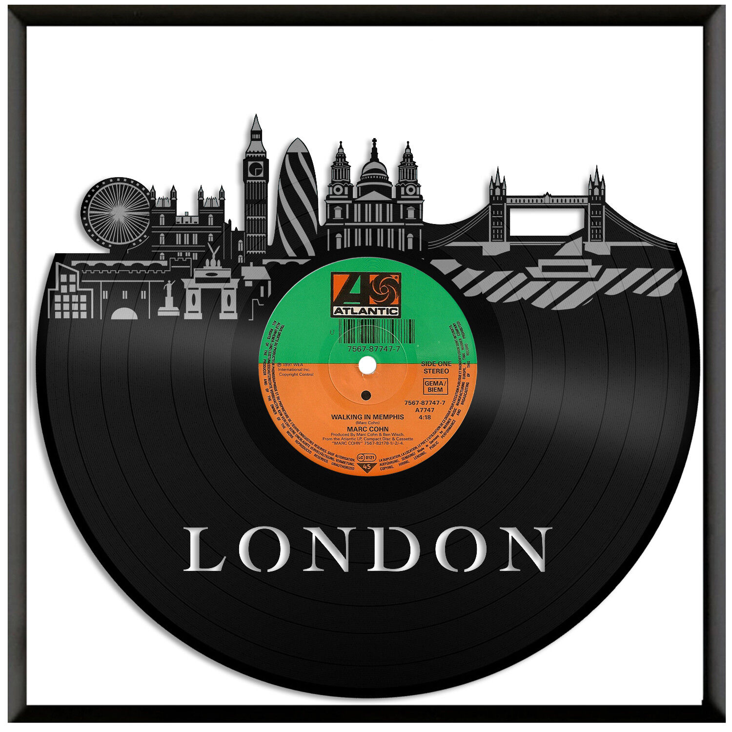 London New  Vinyl Wall Art Cityscape Souvenir Anniversary Framed Home Decor Gift