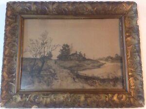 George-H-Bohde-Etching-Lamdscape-In-Ornate-Antique-Gesso-Frame-24-034-x19-034