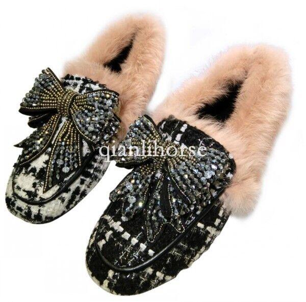 Vogue Para mujeres Estrás Mocasines De Piel Cálido Mulas Plano Sin Cordones botas Zapatos Con Moño