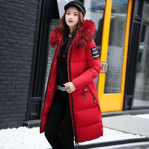 Lady Womens Big Fur Collar Hooded Coat Winter Long Parka Warm Down Padded Jacket