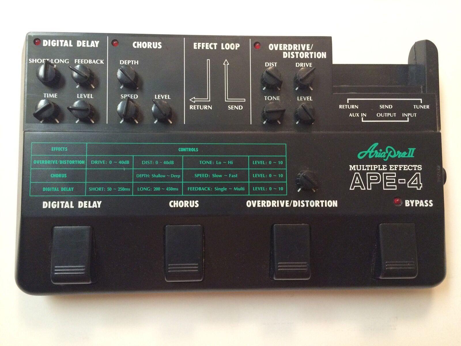 Aria pro II Ape-4 Multi Effekte Verzögerung Chorus Od   Di Rare Vintage Pedal