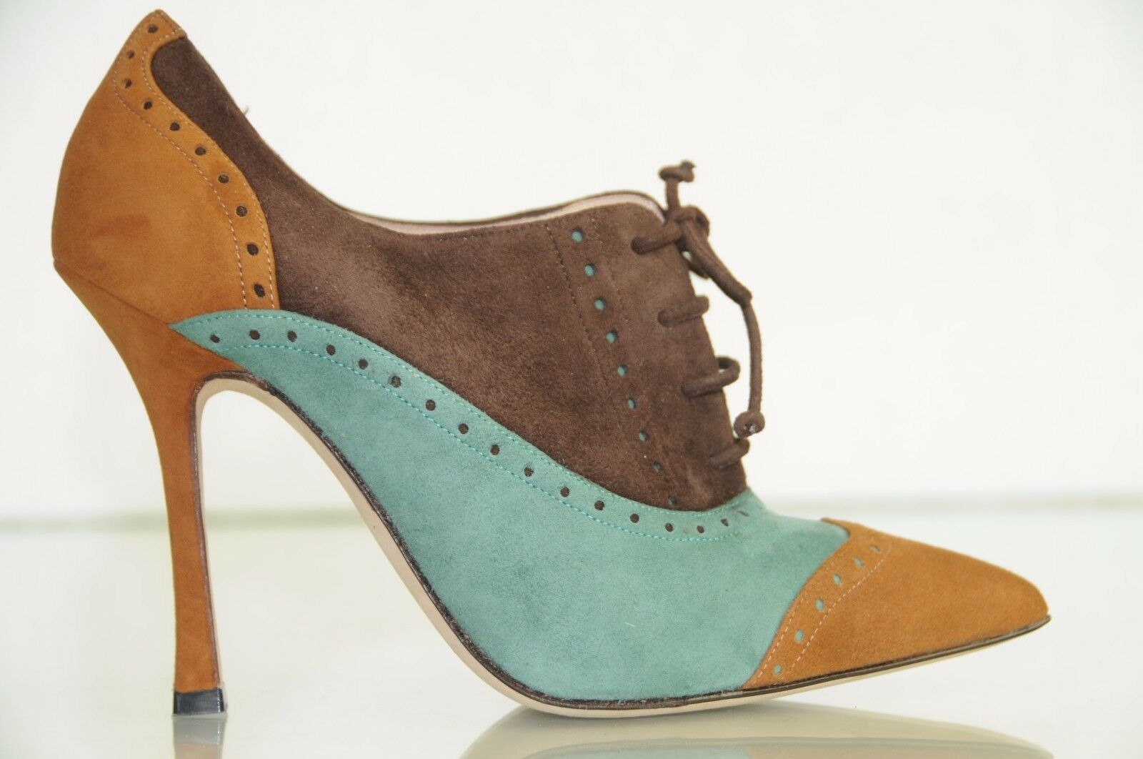765 New Manolo Blahnik CATIAFAC Brown Green Cognac Suede Bootie shoes Boot 35.5