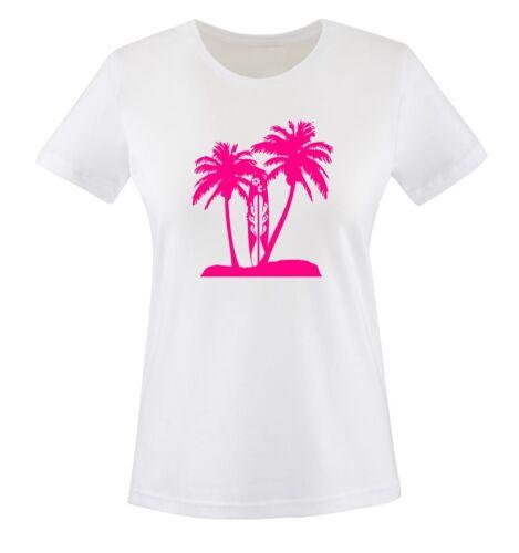 XS bis XXL Diverse Farben Damen Frauen T-Shirt Gr PALMEN SURFBRETT