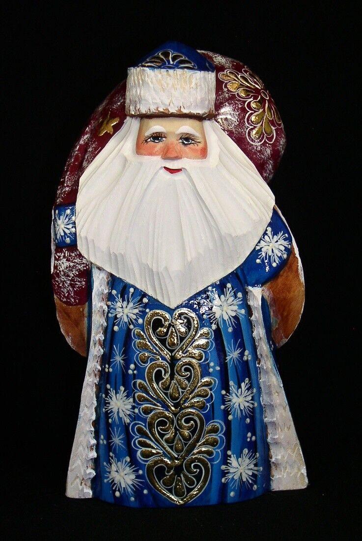 Russische Holz Weihnachtsmann Handgeschnitzt   Painted W   Tasche in Blau Grün