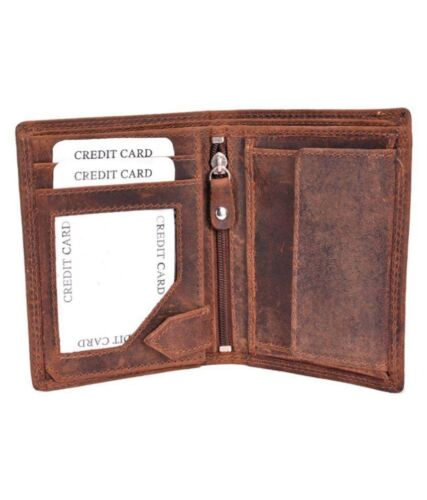 KEEP CALM I/'M THE WORLDS BEST DAD GENTS BROWN DISTRESSED HUNTER LEATHER WALLET