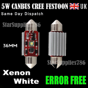 5x CANBUS FESTOON CREE BULBS 36MM WHITE INTERIOR LIGHTS ERROR FREE AUDI BMW