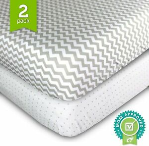 2Pack Baby Crib Sheet Fitted Jersey Cotton - 28 x 52 x 9 inch