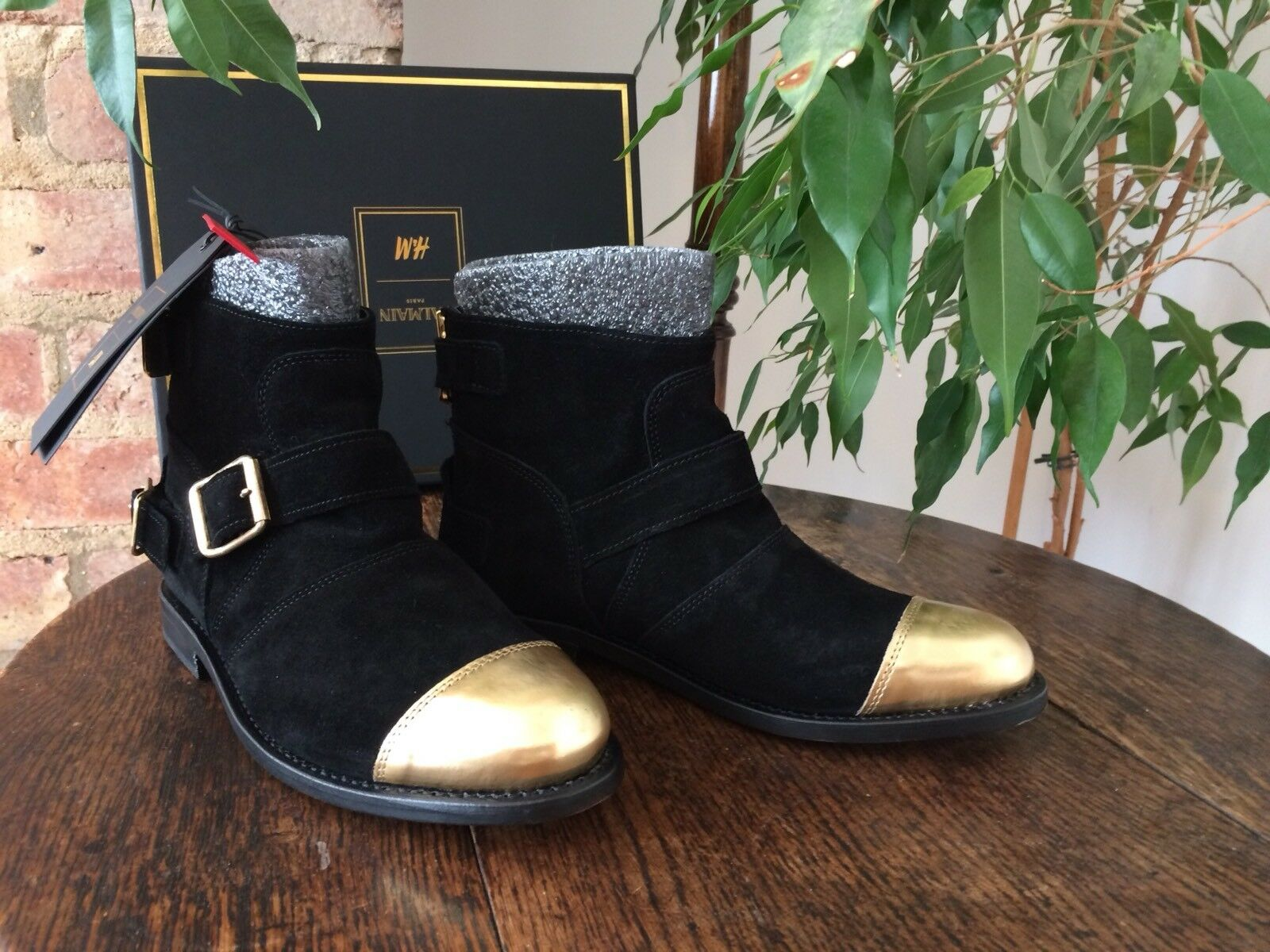 Balmain X H&M Negro Y Dorado Dorado Dorado Puntera botas De Gamuza UK 5 EUR 38  barato en alta calidad