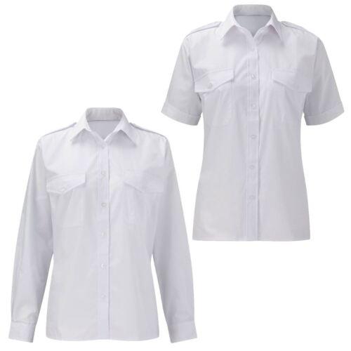 Womens Ladies Blouse Pilot Shirt Plain White Office Work Formal Smart Plus Sizes