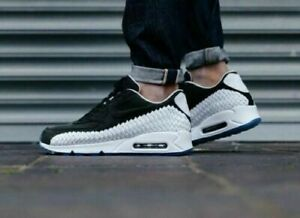 Mens Nike Air Max 90 Woven Sneakers New, Black White OREO