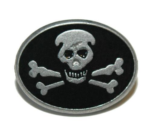 096 BLACK ENAMEL /& PEWTER SKULL /& CROSSED BONES TIE PIN TACK