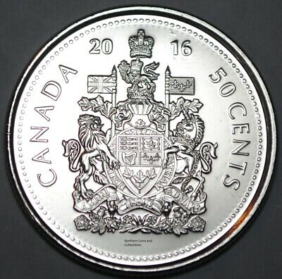 BU Canadian Half Dollar Canada 2016 Logo 50 cents Nice UNC from roll
