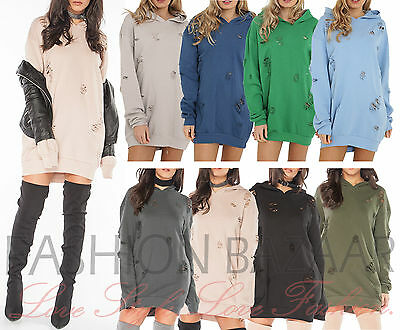 Womens Distressed Hooded Jumper Dress Long Sweatshirt Oversized Hoody Ripped Top Dauerhafte Modellierung