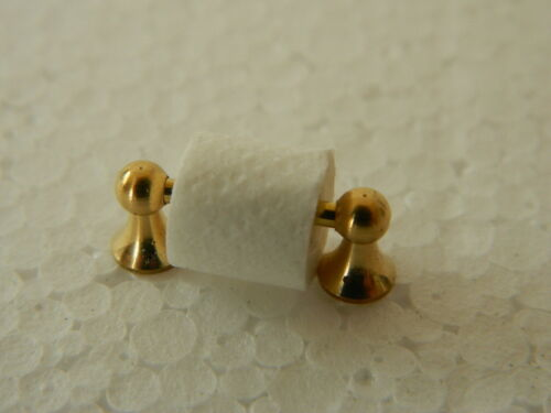 A2.5 1//12th scale DOLLS HOUSE METAL GOLD COLOURED LOO ROLL HOLDER /& LOO ROLL